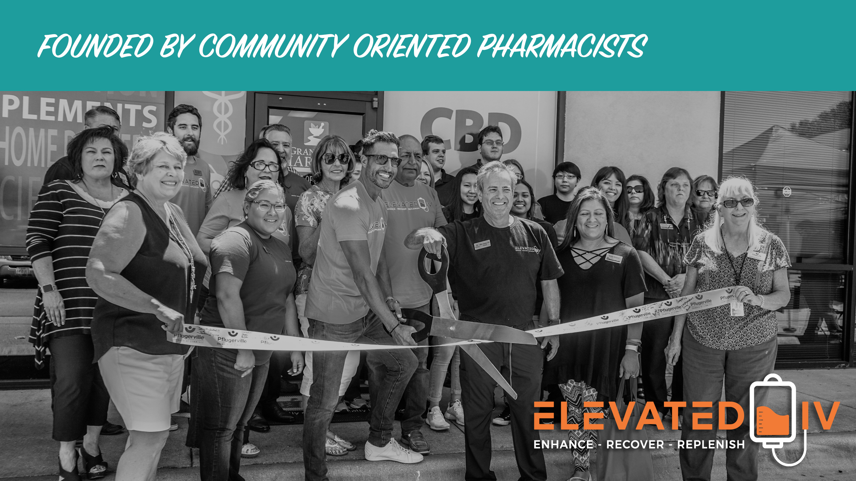 The staff of Elevated IV at the company's Ribbon Cutting Ceremony in Pflugerville, TX
